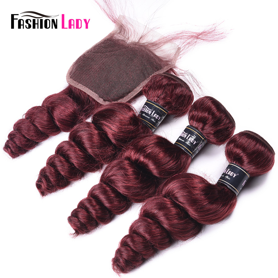 Fashion Lady Pre-Colored Indian Loose Wave Bundles With Closure 99j Red Hair Bundles Human Hair 3 Bundles With Closure Non-Remy