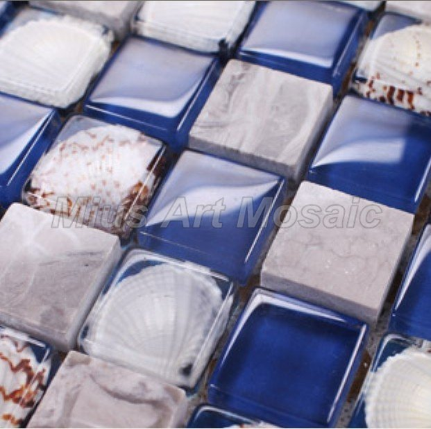 Blue color mix crystal mosaic & resin mosaic tiles with real shell for kitchen backsplash  GE002|mosaic tile|tiling mosaic tiles|tile mosaic - title=