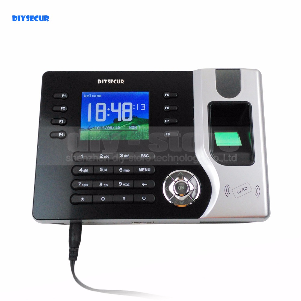 DIYSECUR 2.4inch TFT Color Screen Fingerprint And ID Card Reader Time Clock + Tcp/ip+ Software +Usb Download a c030t fingerprint time attendance clock id card tcp ip usb