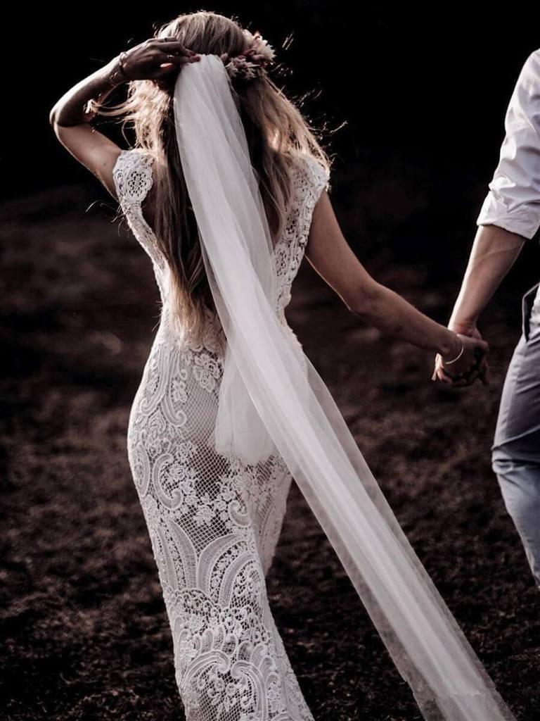 Image 4 - Robe De Mariage Wedding Dresses Boho 2019 Lace Chic Bohemian Wedding Dress Bridal Gowns Vestidos De Novia-in Wedding Dresses from Weddings & Events
