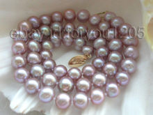 "free shipping  >>Genuine 17"" Natural 7.5-8mm Purple Pearl Necklace !"