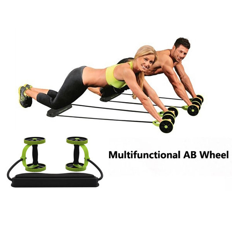 Core Double Wheels Ab Roller Pull Rope Abdominal Waist <font><b>Slimming</b></font> Abdominal Exercise Equipment
