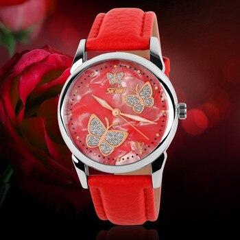 цена 2019 SKMEI Women Dress Watch Fashion Elegant Leather Strap Rhinestone Watches Waterproof Ladies Lady Clock Dress Wrist Watches онлайн в 2017 году