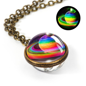 Galaxy Double Sided Pendant Necklace Jewelry Necklaces Women Jewelry Metal Color: LGS0037-Luminous