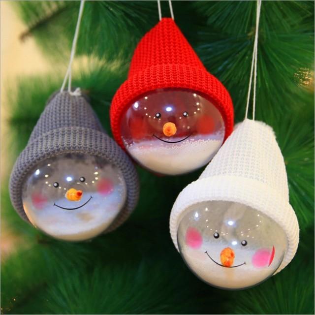 1Pc Transparent Plastic Christmas Snowman Ball Pendants Hanging Ball  Baubles Christmas Tree Ornaments Home Decoration 3 - 1Pc Transparent Plastic Christmas Snowman Ball Pendants Hanging Ball