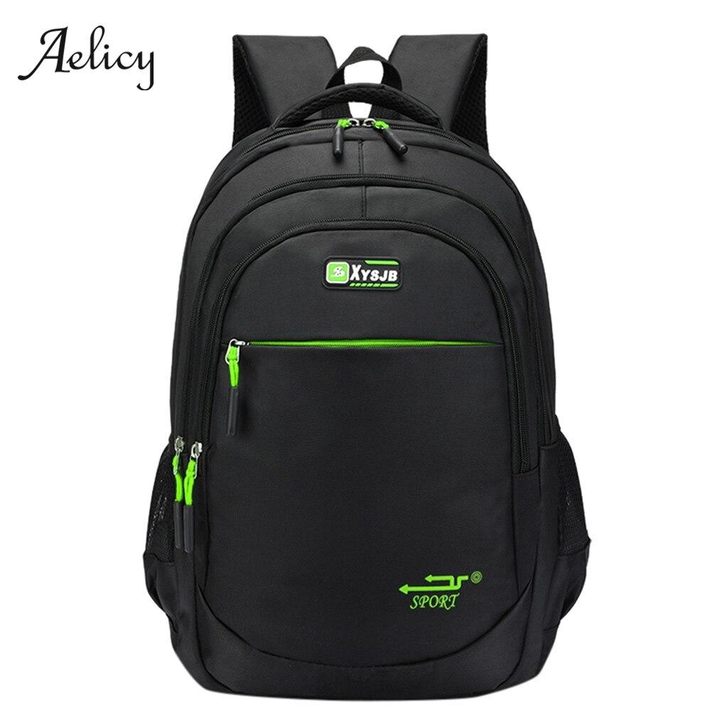 Bagaj ve Çantalar'ten Sırt Çantaları'de Aelicy Erkek Sırt Çantası Siyah Klasik Laptop açık hava seyahati için sırt çantası Erkek Bilgisayar Çantası Büyük Kapasiteli öğrenci sırt çantası Erkek 605