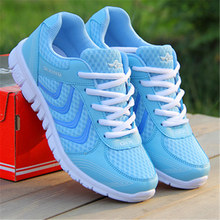 Fast delivery Women casual shoes fashion breathable Walking mesh lace up flat