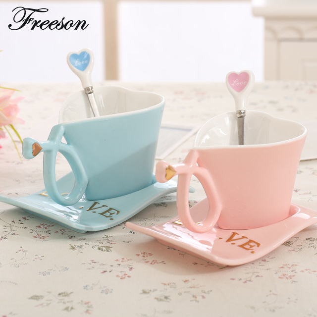 Creative Lover Porcelain Coffee Cup Saucer Set Brief Valentine Ceramic  Teacup 160ml Couple Tea Cup Tray