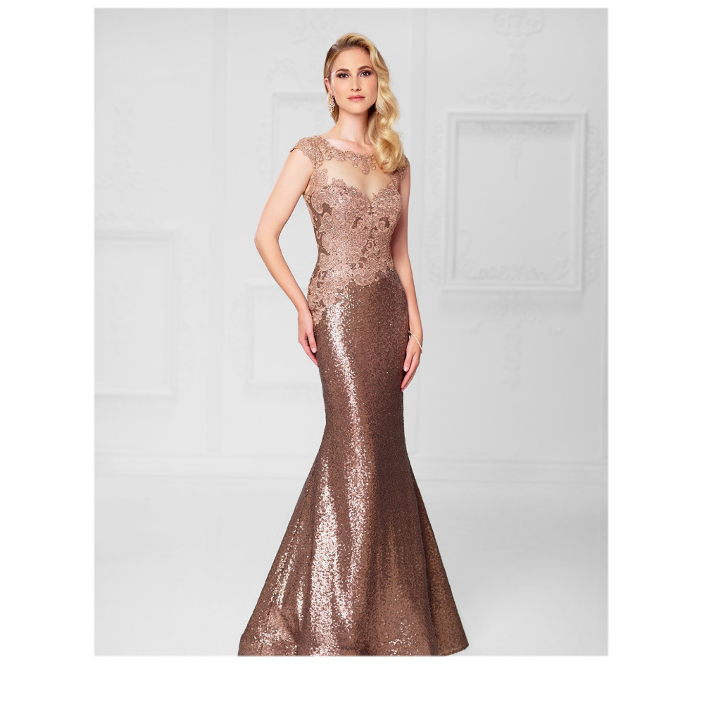 Sequined Evening Dresss Long Gold Mother Bride Dress Mermaid