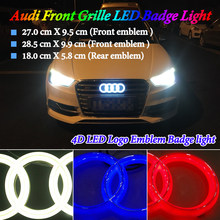Car Styling Cold Light LED Front Rear Emblem Light for Audi A1 A3 A4 A5 A6 A7 Q3 Q5 Q7 TT R8 100 Front grille badge Logo Light(China)