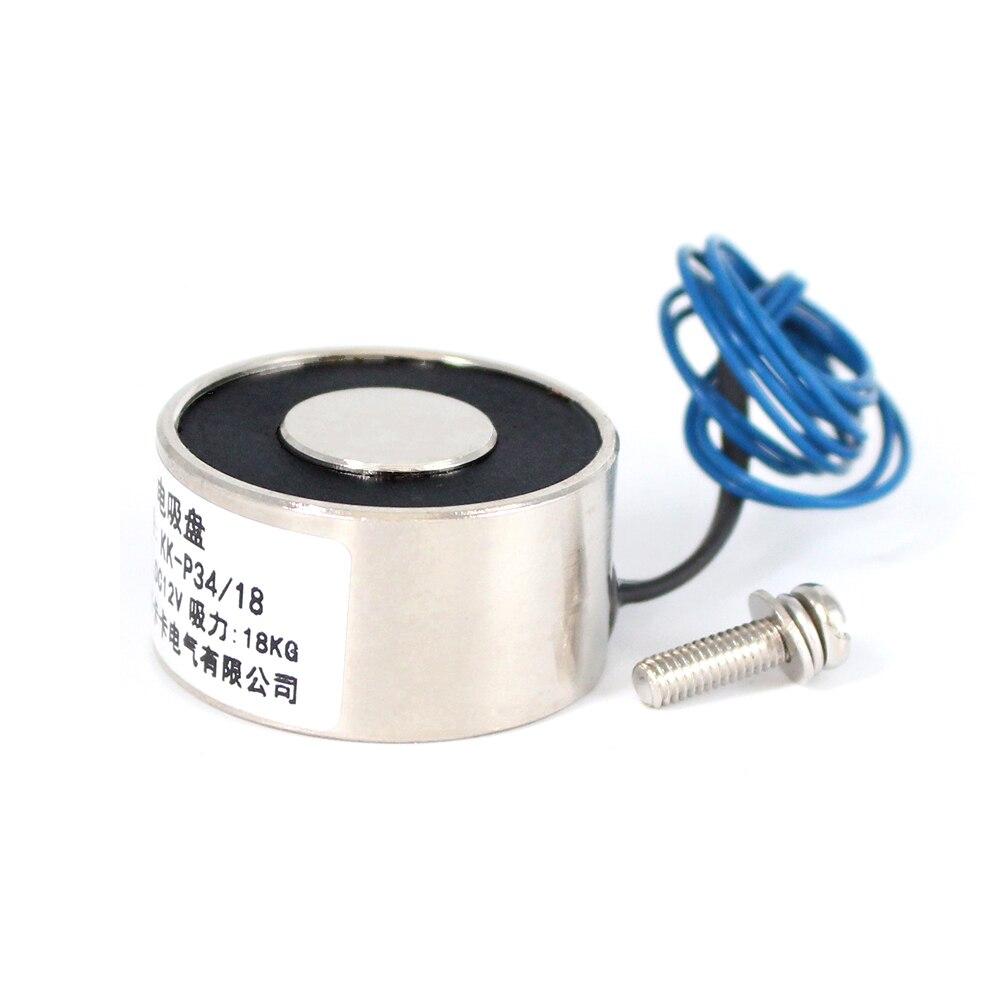 34*18 DC 6V 12v 24V водонепроницаемый электромагнитный Электромагнит 18kg присоска электрическая магнитная катушка портативный мощный подъем удерживающий никель 12