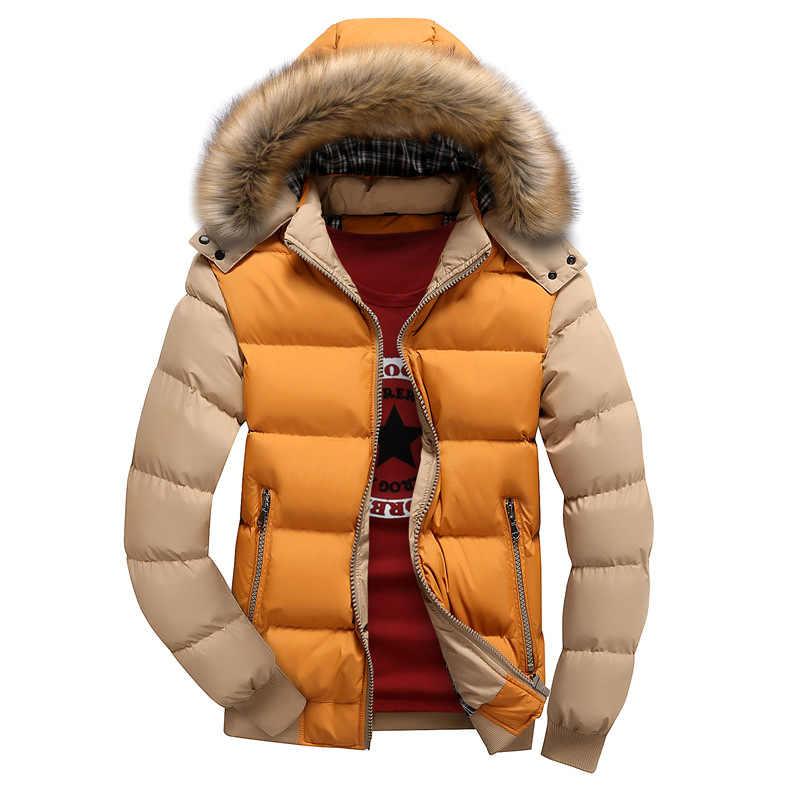 2018 男性付き冬ウインドブレーカージャケット男性スリム厚み生き抜く暖かい Oovercoats カジュアルメンズパーカーボンバージャケット