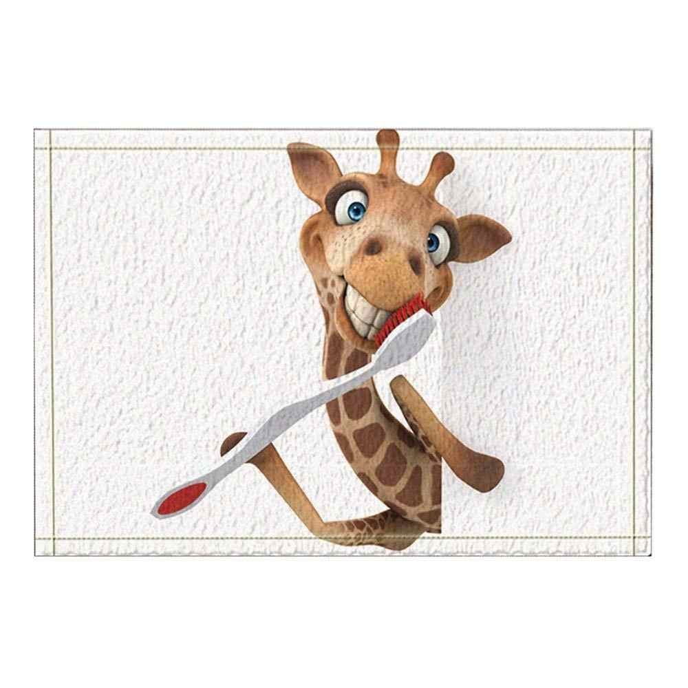 Giraffe Brushing Teeth Kids Bath Rugs