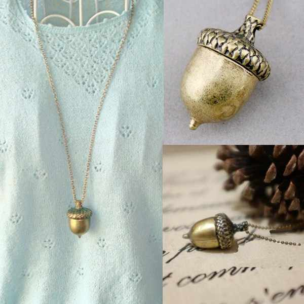 LNRRABC Fashion Cone Pendant Pinecone Necklace Retro Charm Bronze Chain alloy Women Girls Sweater Chain Jewelry