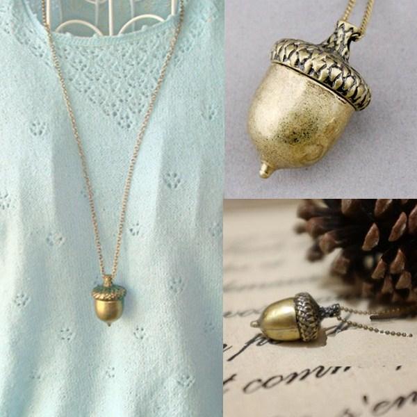 ЛНРРАБЦ Модни конус привјесак Пинецоне огрлица Ретро Цхарм Брончана ланчана легура Жене Дјевојке Џемпер Ланчани накит