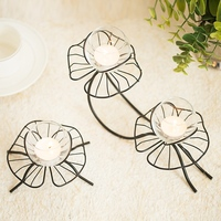 PINNY European Lotus Iron Candles Stand Romantic Glass Candle Holder Home Decorative Candles Metal Candlestick Birthday Party