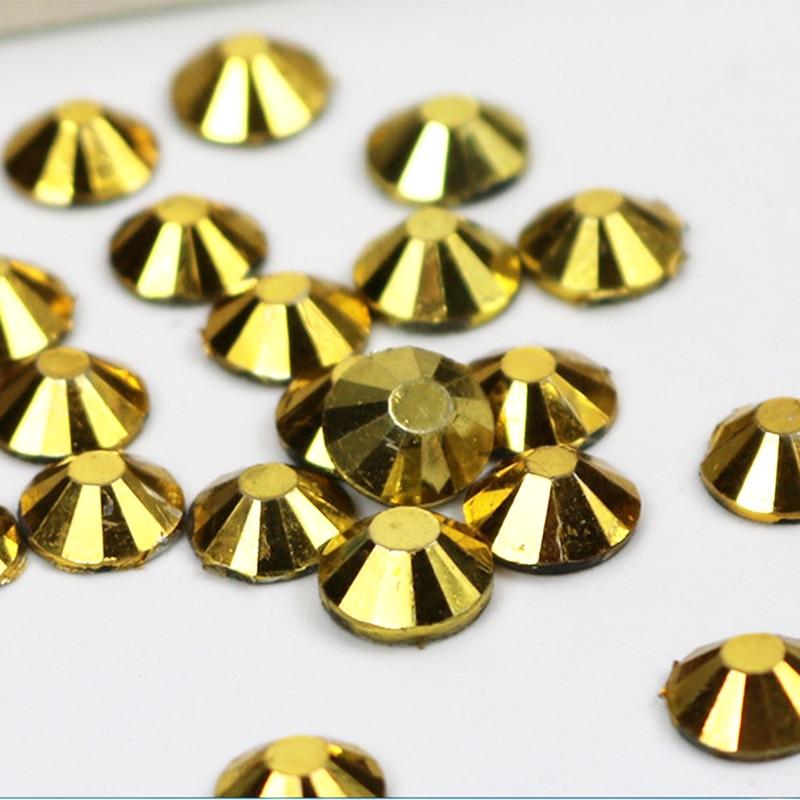 Mine Gold Lepidlo na Rhienstone Všechny Velikost Flatback Strass 3D Nail Art Krystaly Non Hotfix Rhinestones