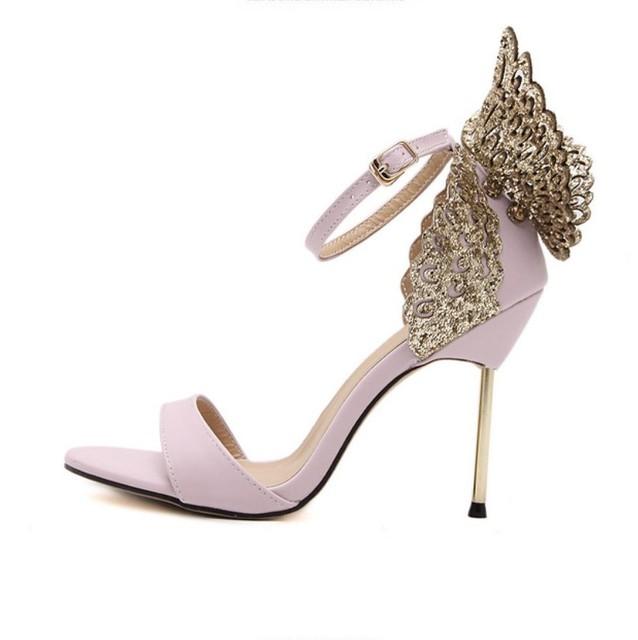 2016 new arrival moda da asa da borboleta glitter lantejoulas cinta ankel sandálias de seda do cetim do falso bombas mulheres sapatos de salto alto rosa preto