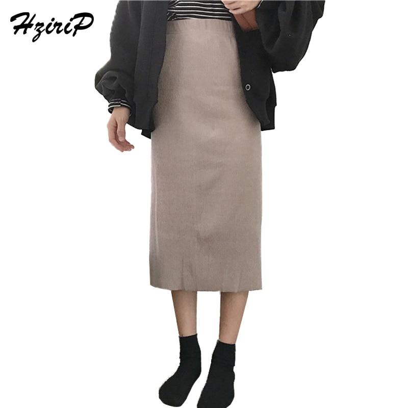 2018 Spring New Arrival Long Solid Skirt Slim Elegant Casual Hot Split Elastic High Waist Work Mid-calf Women Autumn Skirts