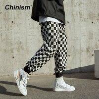 CHINISM Black White Plaid Full Printed Jogger Pants Man Loose Hip Hop Streetwear Joggers Squares Full Printing Casual Pants
