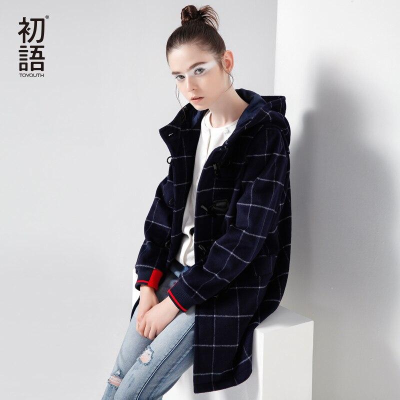 Toyouth New Long Woolen Jacket Horn Buckle British Hoodies Coats Streetwear Style