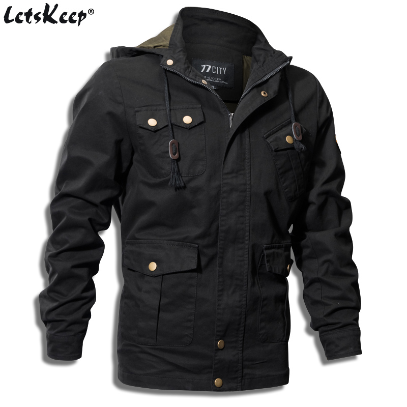 LetsKeep 2017 New Spring bomber Jacket Men Autumn Black Hooded Jacket Coat mens army jacket flight military Plus Size 5XL A232