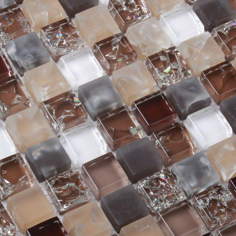 Crystal Glass Brown Grey White Mosaic Tile MD BW001 Decoration Kitchen  Backsplash Wall Floor Tile