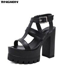 TINGHON Summer Shoes strappy sandals chunky heel Woman Platform Sandals women footwear block heel sandal thick heel 13cm недорго, оригинальная цена