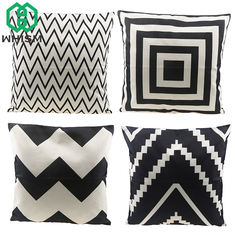 WHISM Cotton Linen Pillow Case Geometry Throw Pillow Cover Car Chair Home Decor Cushion Covers Luxury Printed Almofada Cojine
