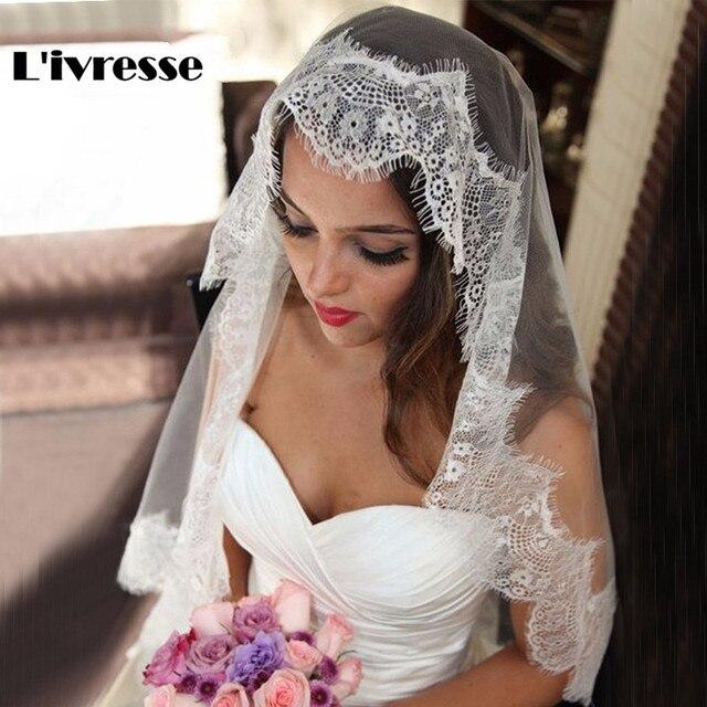 Simple White Ivory Tulle Wedding Veils one Layer Eyelash Lace Edge Bridal Veils Custom Made Bridal Accesories