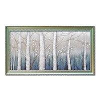 100% dipinto a mano dipinti ad olio su tela astratta moderna di paesaggio betulla Bianca inverno Wall Art living Room home Decoration immagine