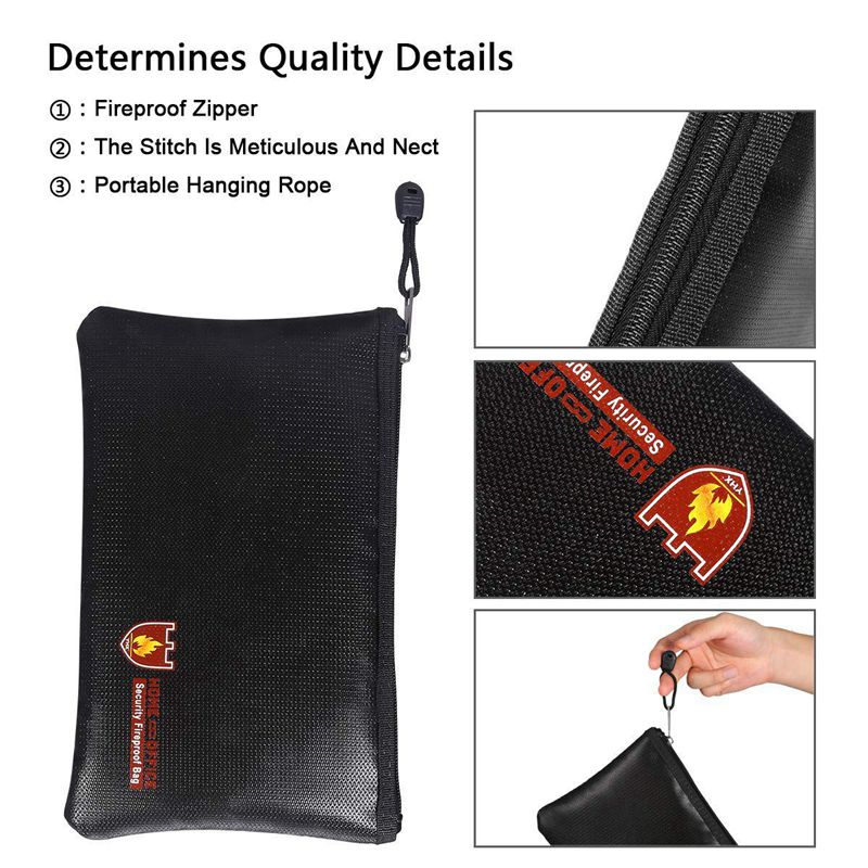 Fireproof Money Safe Document Bag. NON-ITCHY Silicone Coated Fire & Water Resistant Safe Cash Bag. Fireproof Safe Storage For