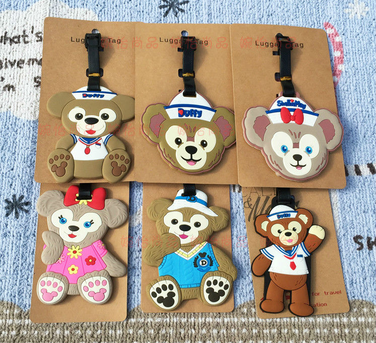 6 pcs/lot Duffy Bear luggage tag Anime ShellieMay Bear PVC bag pendants Lovers fashion suitcase decoration free shipping