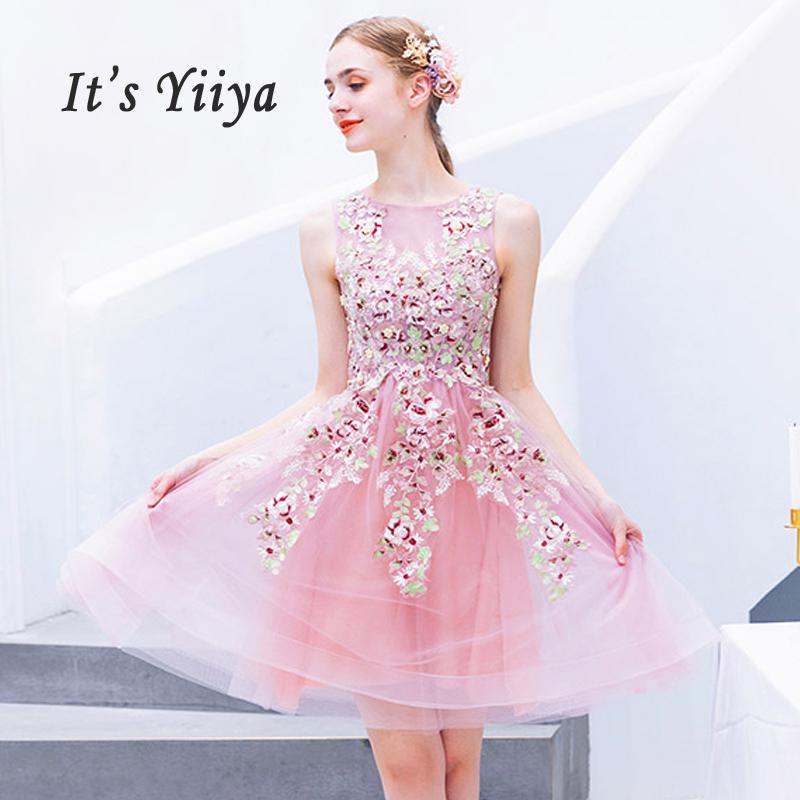 It's Yiiya Cocktail Dress Mini Lace Cocktail Dresses 2019 Sleeveless Party Woman Plus Size Embroidery Robe Cocktail Gowns E610