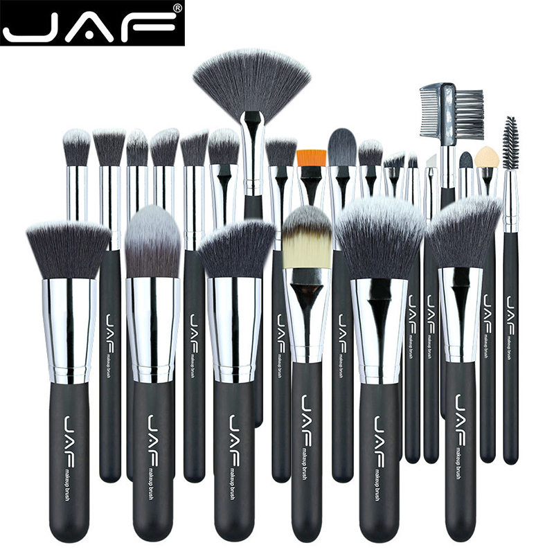 JAF Professional 24Pcs/Set Black Makup Brushes Premiuim Foundation Powder Make-up Brush Women Cosmetic pinceis de maquiagem professional bullet style cosmetic make up foundation soft brush golden white