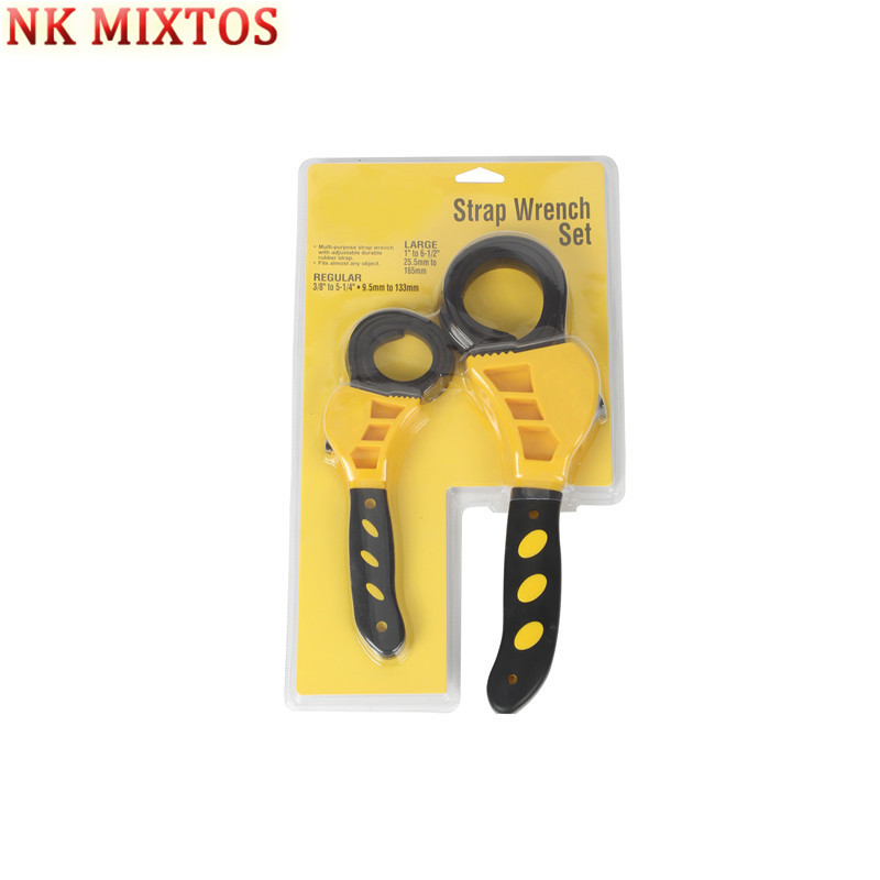 NK MIXTOS 1PC Rubber Strap Wrench Adjustable Hand Held Lid Plumbing Tighten Or Loosen 6 inches / 8 inches