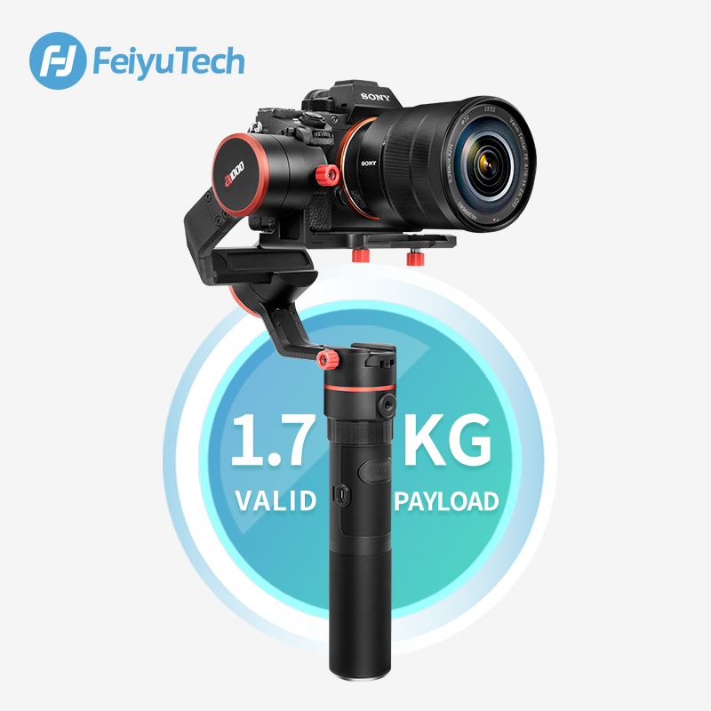 Feiyu A1000 3-Axis Gimbal DSLR Camera Stabilizer Handheld Grip for a6500 a6300 iPhone Canon 5D/SONY Panasonic 1.7kg Payload feiyu a2000 3 axis gimbal steadicam dslr camera dual handheld stabilizer for grip voor canon 5d sony panasonic 2000g