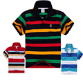 Alta qualidade unisex crianças meninos meninas polo camisas crianças verão de manga curta algodão Listrado Tshirt Para 4 6 8 10 12 14 16 18 ano