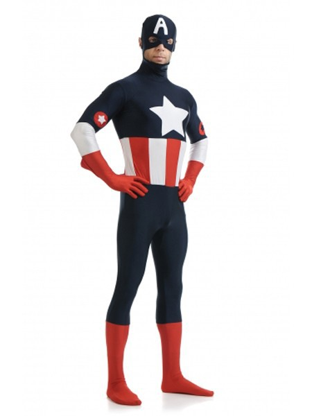 Mens Captain America Skin Body Suit The Avengers Super Hero Costume All Sizes