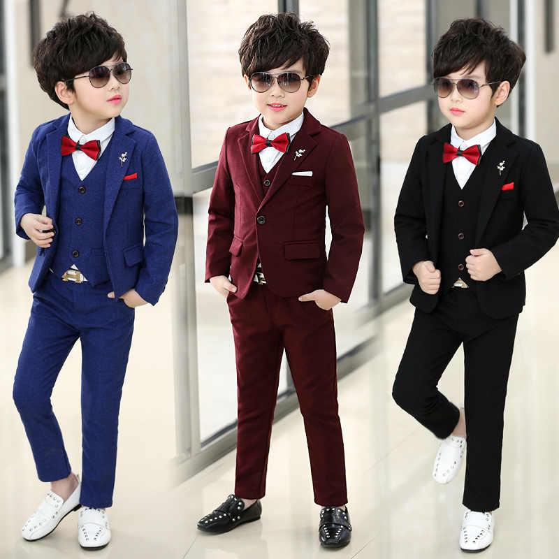 2019 moda chłopiec garnitur dla wesela Prom Party dla dzieci chłopcy marynarki odzież dla dzieci garnitury marynarki dla chłopców 3 sztuk płaszcz + kamizelka + spodnie