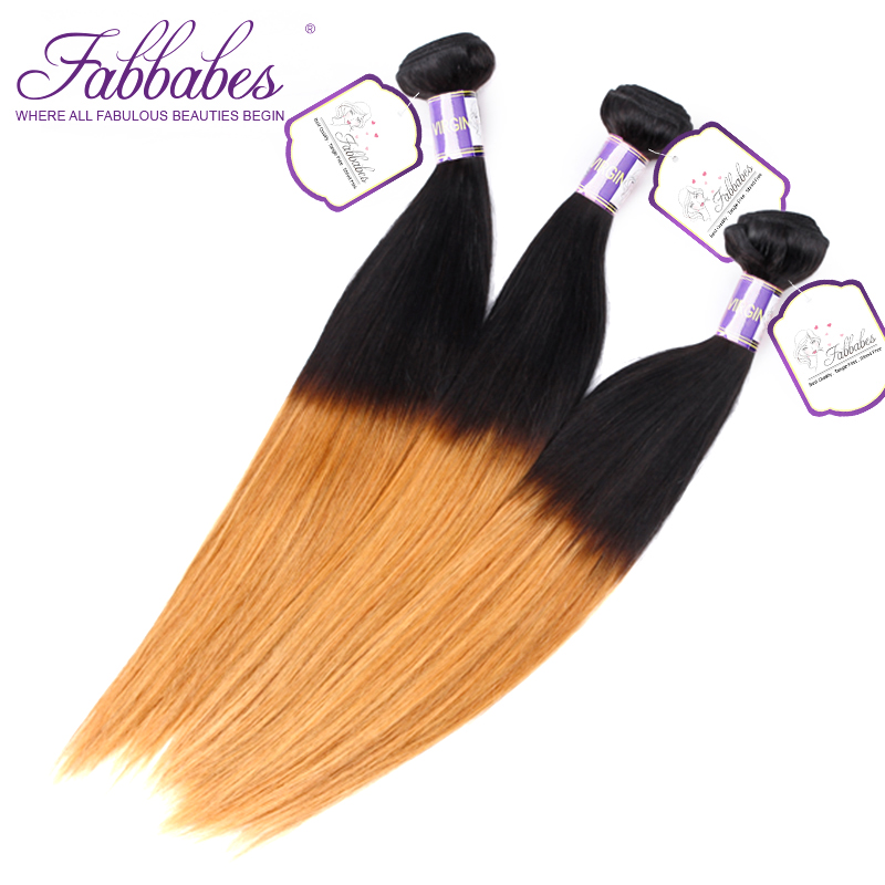 Fabbabes Hair Brazilian 1/27 Straight Human Hair 3 Bundles Hair Extentions Ombre Color 1 ...