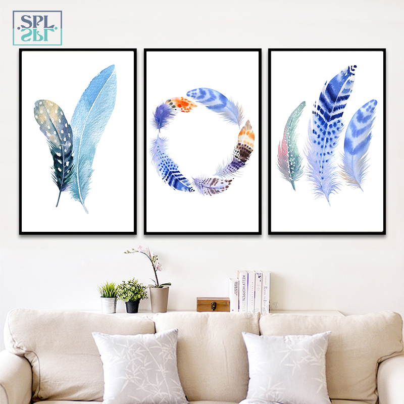 SPLSPL Modern Nordic Watercolor Painted Birds Feathers A4 Print Canvas Art Wall Poster Pictures Home Decorative Paintings