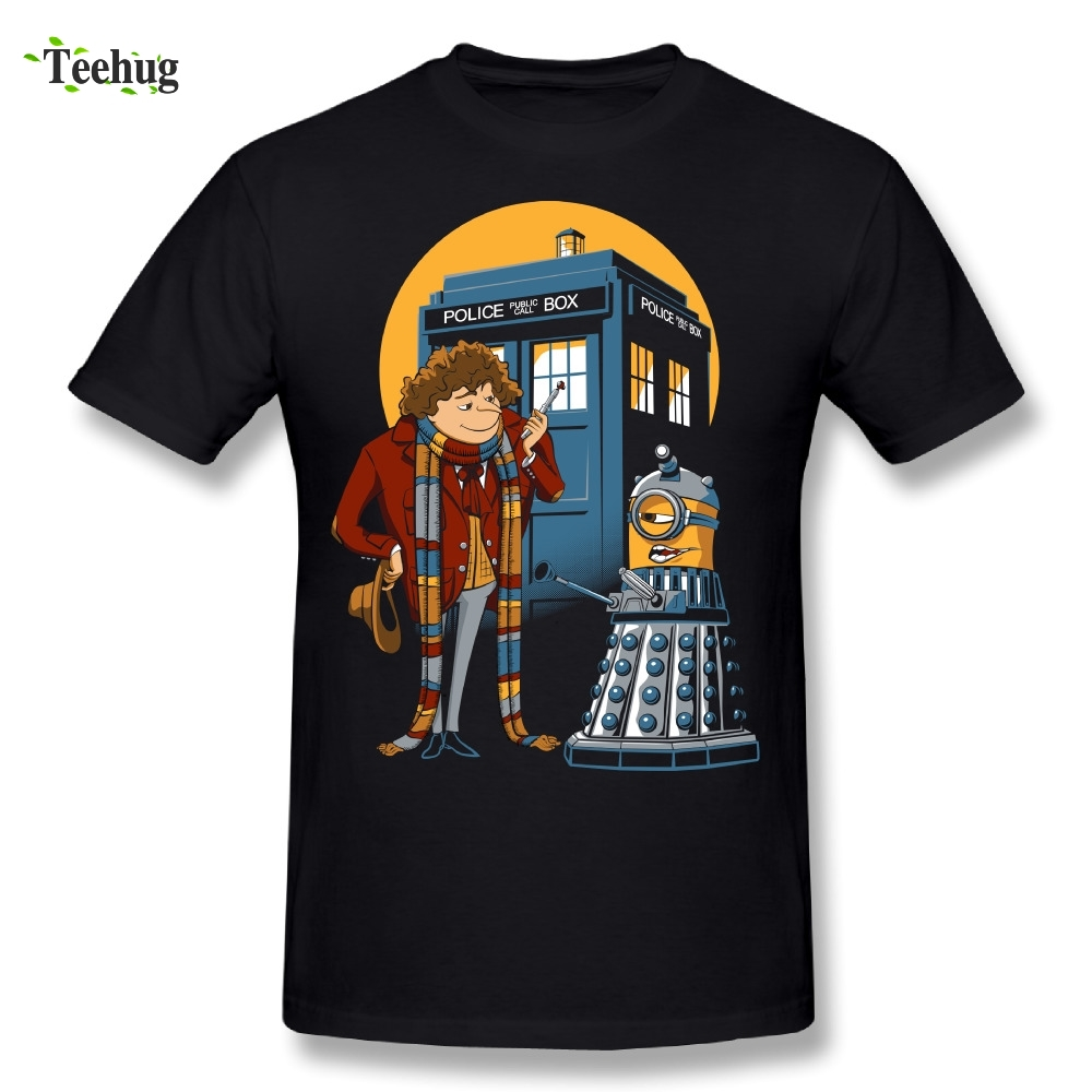 Fashion Streetwear Doctor Who And Minions T-Shirt Classic Cartoon 100% Cotton Homme Tee Shirt Camiseta