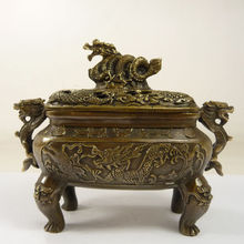 Superb China collect old handwork copper big incense burner carving dragons 12 7 inch handwork boxwood carving china traditional classical peach shape shelf