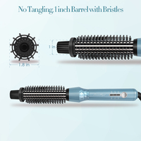 Swanmyst Hair Curling Brush, 3 in 1 Curling Iron Hair Straightener Normal Comb, Ceramic Coating Barrel with Dual Voltage