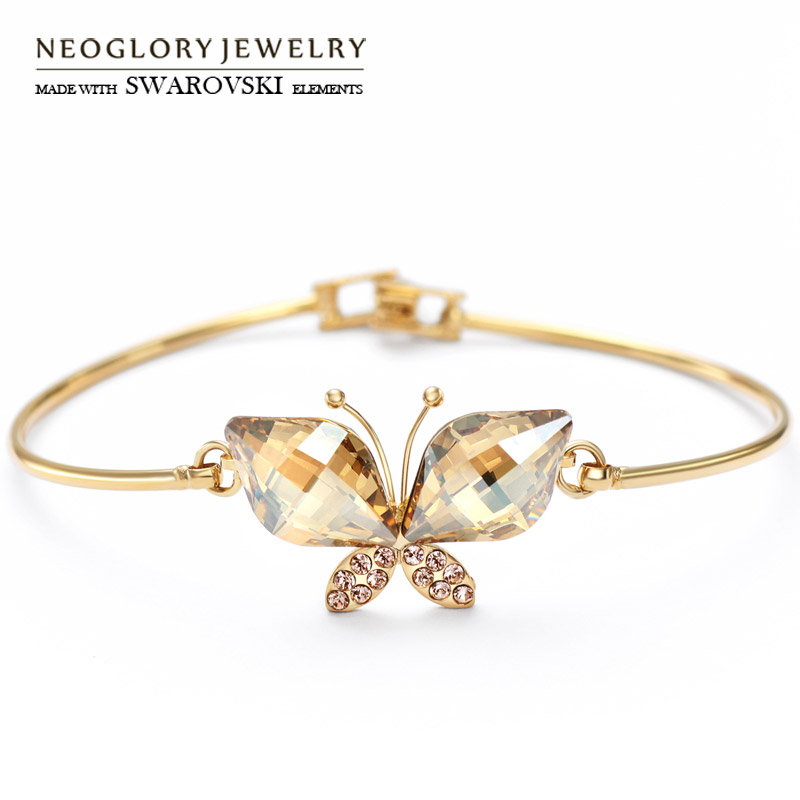 Neoglory Austria Crystal & Auden Rhinestone Bangle Lovely Butterfly Design Color amarillo Pulsera de moda para dama clásica
