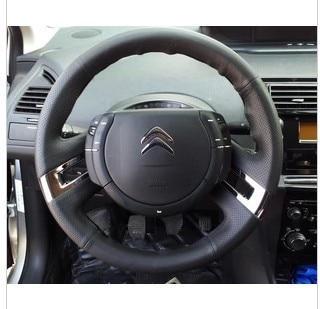 2 pcs abs para Citroen C-Quatre/C4 2012 (outro ano talvez precisa usar parafusos extras) volante Chapeamento adesivo decorativo