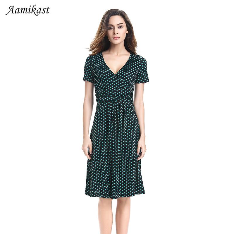 AAMIKAST Women Dresses New Fashion 2017 Vintage Summer Elegant V-neck Short Sleeve Fit Dot Casual Party Dresses