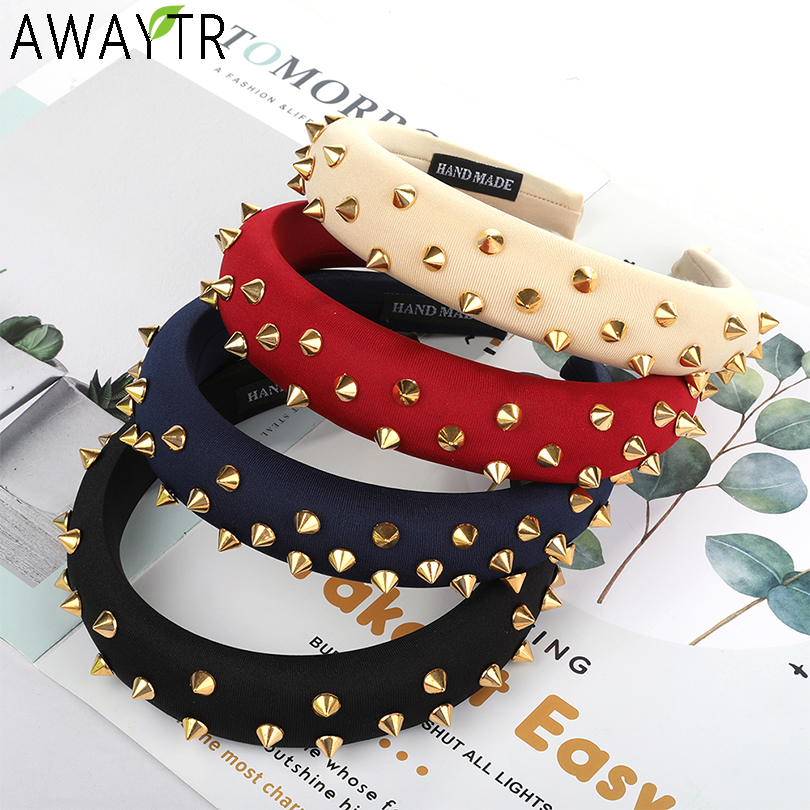 Thick Rivet Women Headbands Hair Accessories Head Band Fashion   Headwear   3CM Wide Plastic Hairbands For Woman Drop Shipping