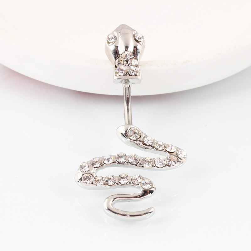 HTB1lkZtMXXXXXc8XXXXq6xXFXXXS Sterling Silver Belly Button Crystal Encrusted Serpent Ring For Women